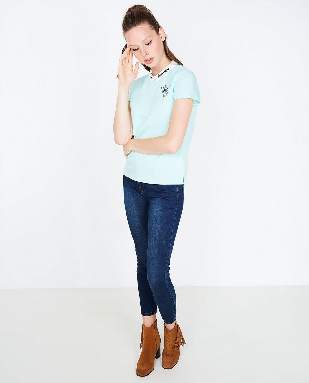 Mintgroene blouse - met kraagje - Grogy
